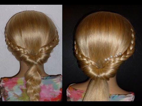 Быстрая причёска самой себе с плетением косичек на средние/длинные волосы.Причёски в школу - YouTube