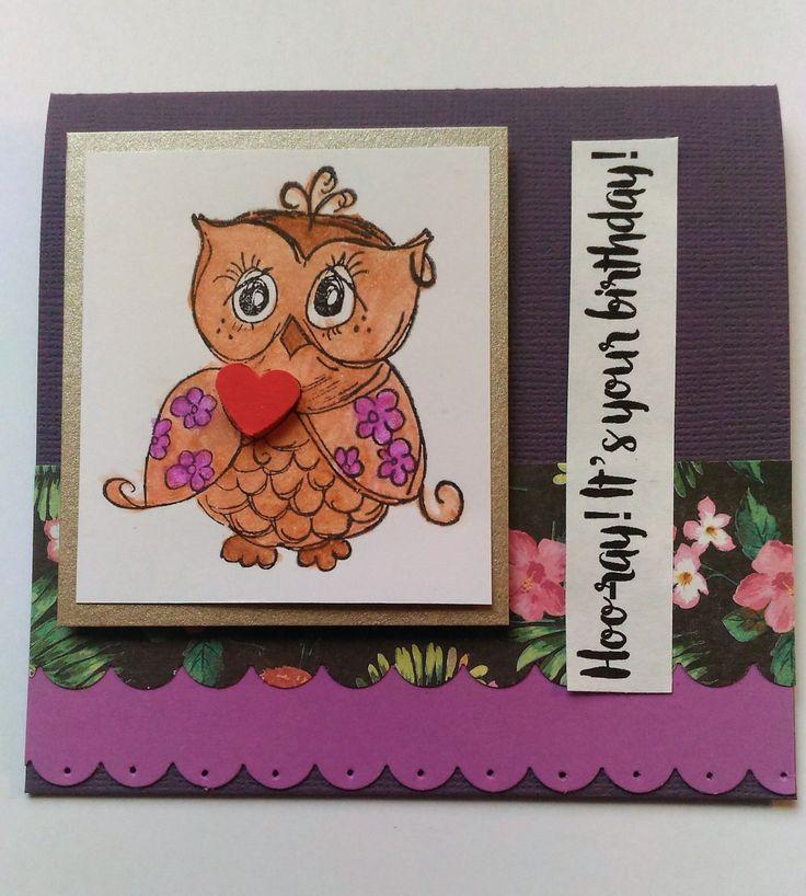 HIP HIP HOORAY: punny owl, purple happy birthday card by teganrebecca on Etsy