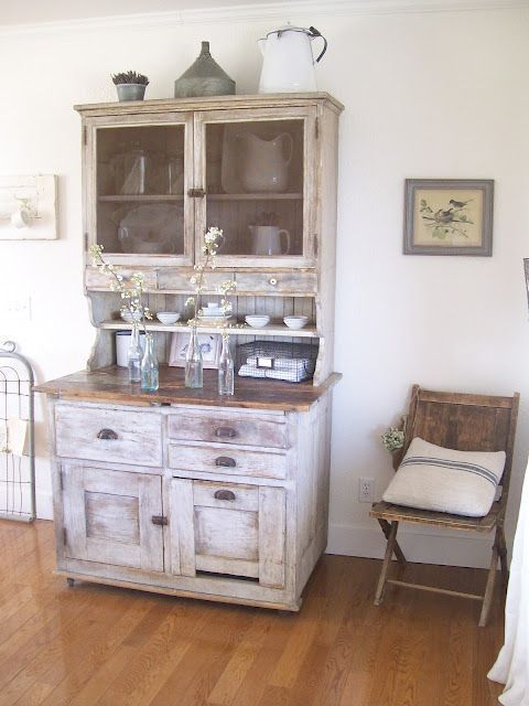 I really love this old hutch. Some great DIY ideas. 40 Rustic Home Decor Ideas You Can Build Yourself