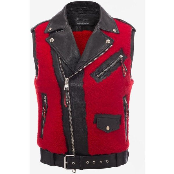 Alexander McQueen Shearling And Buffalo Leather Biker Vest ($4,795) ❤ liked on Polyvore featuring men's fashion, men's clothing, men's outerwear, men's vests, red, mens red vest, mens zipper vest, mens zip vest, mens vest outerwear and mens multi pocket vest