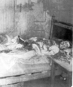 Jack the Ripper's fifth, and most likely his final victim, Mary Jane Kelly a.k.a. Marie Jeanette Kelly, Mary Ann Kelly, Ginger, Fair Emma. Her Life & Death: http://www.casebook.org/victims/mary_jane_kelly.html IMAGE: A photo of the body of Mary Kelly, discovered in Miller's Court.