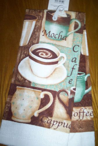 New Kitchen Dish Towel Or 2 Potholders Cafe Mocha Coffee Cup Brown Teal |  EBay Part 37