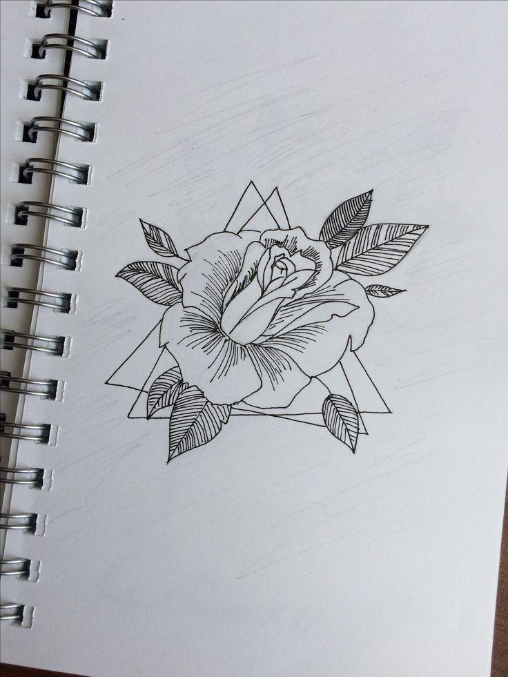 Роза Цветы Рисунок. Роза в треугольниках.