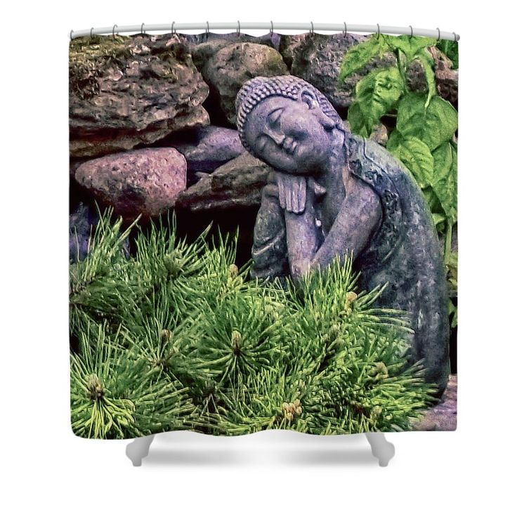Buddha Statuette Shower Curtain by Leslie Montgomery.