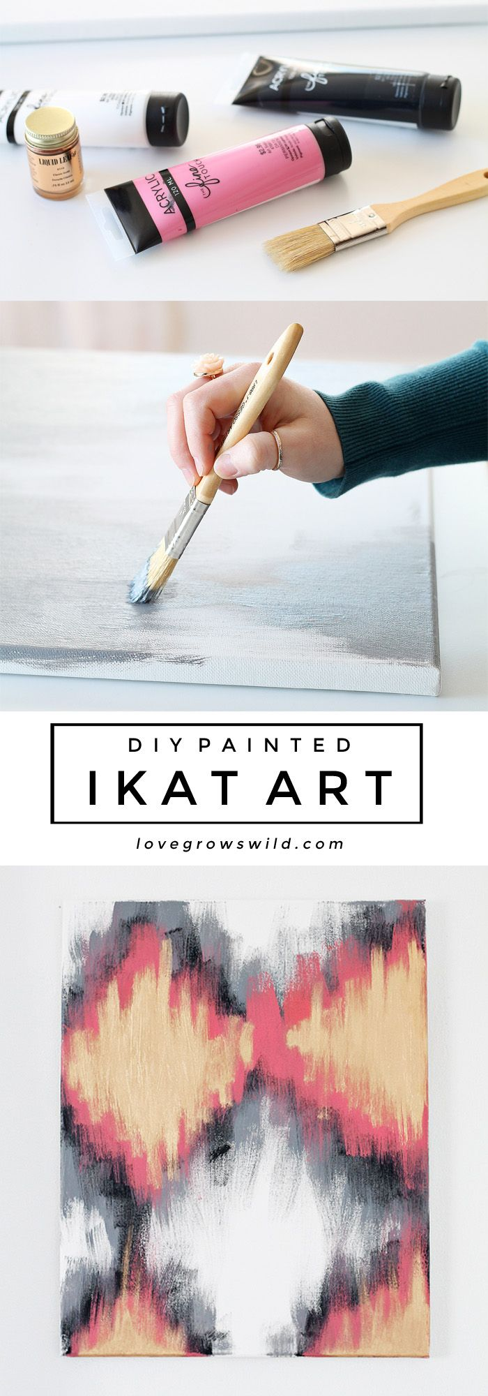 DIY Painted Ikat Art - Creating your own custom artwork is easy! Just follow these step-by-step instructions at LoveGrowsWild.com