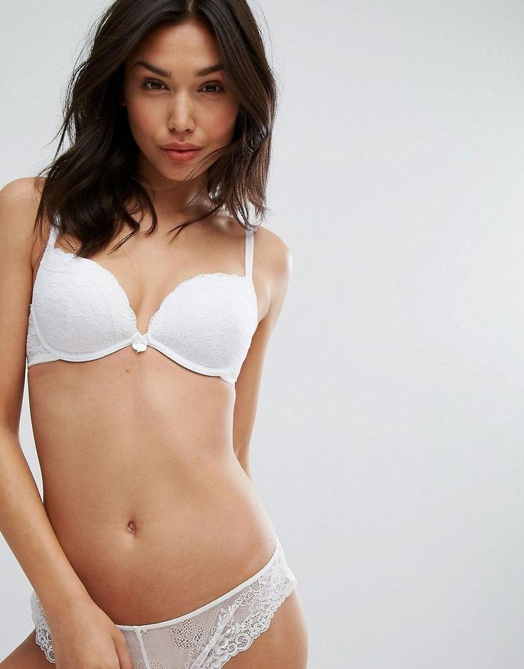 New Look Lace Push Up Bra - White