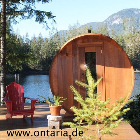 Barrel-Sauna Ø210xL240 cm - 8 People Nothing smells better than Cedar oils when heating up: Deluxe Barrel Sauna for 8 peoplewith wood-burning heater. Assemble it and start to relax! E-and Infrared-heater available!  Ultimate space: 210 cm high and 240 cm long