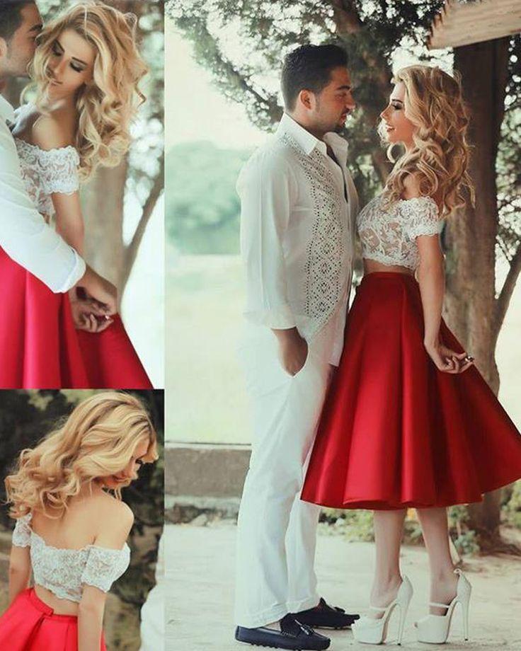 2 Piece Prom Dress, Red Short Prom Dresses,2016 Prom Dresses,Vintage Prom Dresses, Party Dresses, Homecoming Dresses