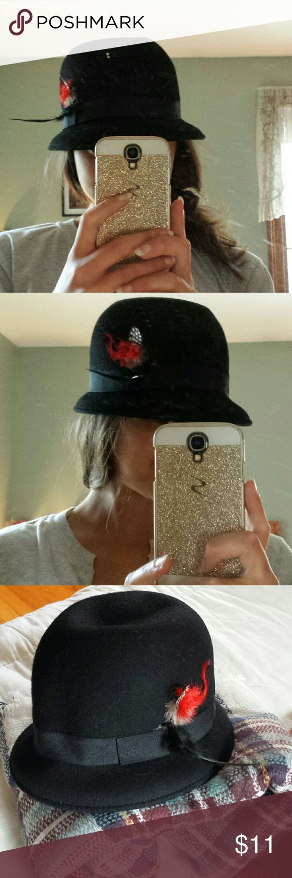 Fitted Black Bowl Hat with Red Feathers In great condition, and such a fun, cute hat! Accessories Hats