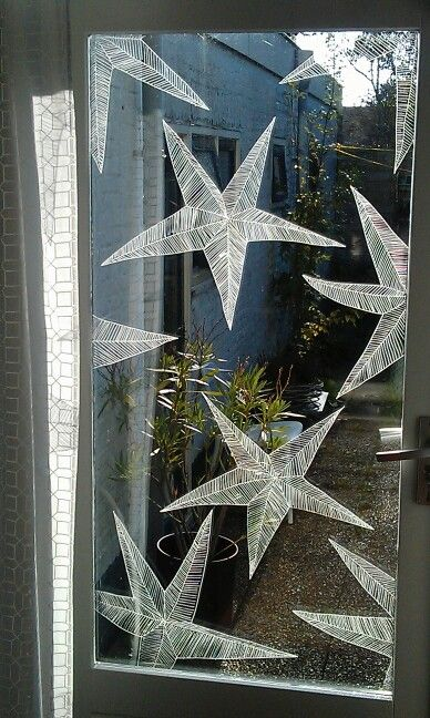 www.drawink.nl #raamtekening #kerststerren #chalkmarkers #stars