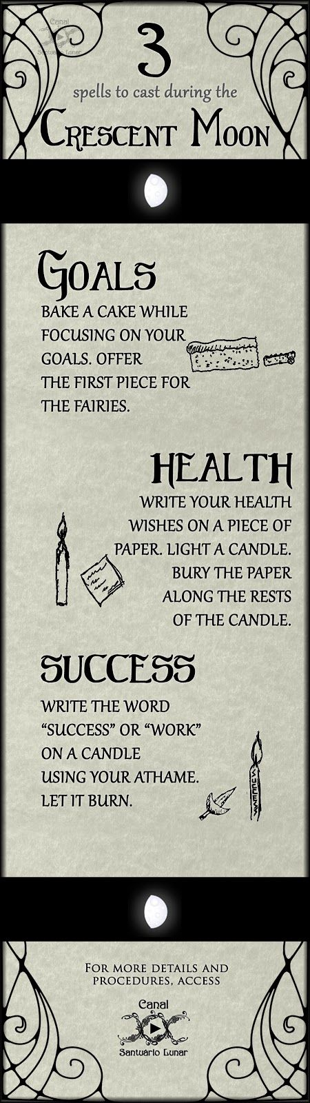 3 spells to cast during the Crescent Moon | Wicca, Witchcraft, Magic, Witch, Pagan Enjoy the power of the Crescent Moon to cast spells that can help you in achieving your goals, upgrading your health and attracting success! If you need more details about how to cast them, check our Santuário Lunar!
