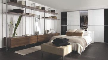 Contemporary Black & White Gloss Sliding Wardrobe Doors with Storage Solution - contemporary - Bedroom - Other Metro - B&Q