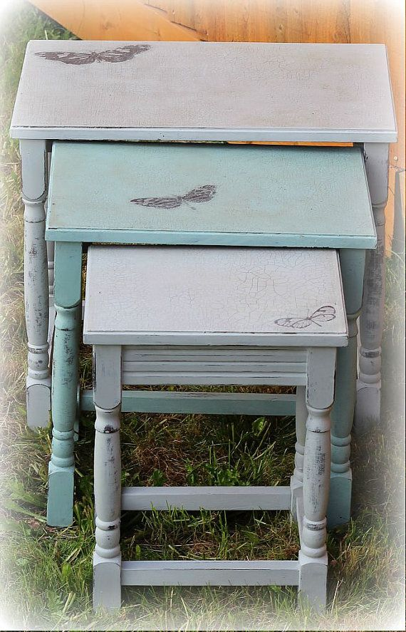 REDUCED! Annie Sloan Chalk Painted Distressed Paris Grey and Custom Blue Shabby Chic Farmhouse Butterfly Nest of Tables