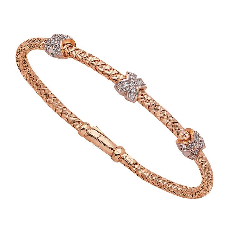 Sterling Silver and Rose Gold Mesh Diamond Bangle