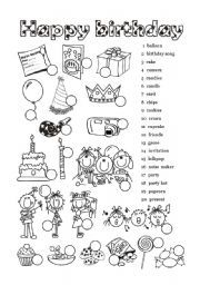 english exercises birthday party english pinterest english exercises worksheets and. Black Bedroom Furniture Sets. Home Design Ideas