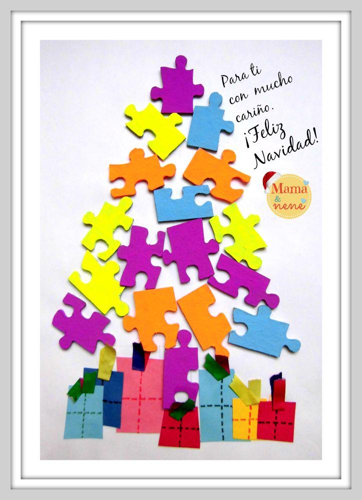 Saludo de Navidad- Árbol de Navidad con piezas de rompecabezas.