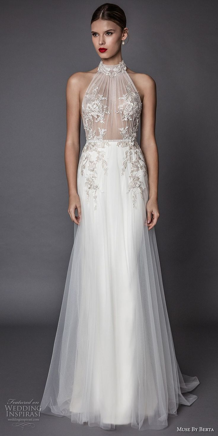 muse berta fall 2017 bridal sleeveless halter neck sheer heavily embroidered bodice elegant sexy modified a  line wedding dress open low back sweep train (armanda) mv