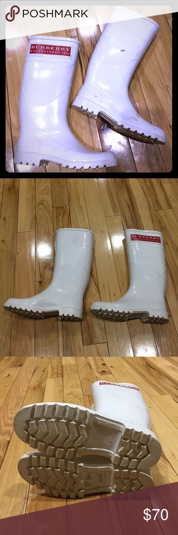 Burberry white rain boots size 6 women's Burberry rain boots size 6 women's white has some scuffs and or scratches as seen in photos very comfortable awesome looking boots non-smoking home fast delivery at an excellent price get them today Burberry Shoes Winter & Rain Boots