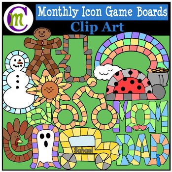 Monthly Icons ClipartTeach patterns, early math, and much more with games and game play. Create a variety of games for fun and education all year long with these monthly game boards. Each month (listed below), is in both color and black and white, and I've included a variety of colored arrows to compliment the boards for a total of 31 images.