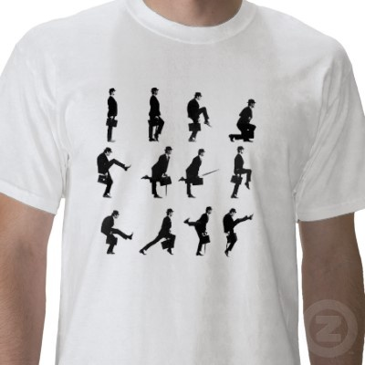 Silly Walk T-shirt!  Got to have one, in this crazy world.  Google Image Result for http://rlv.zcache.com/silly_walks_tshirt-p235720714173831679enstl_400.jpg