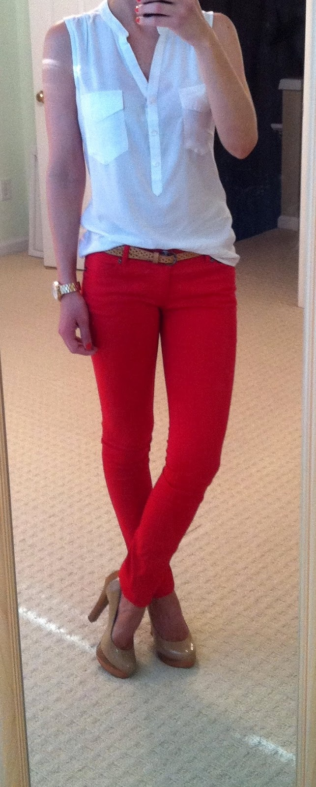Slightly more colorful outfit for summer? Red jeans, white sleeveless blouse, nude pumps