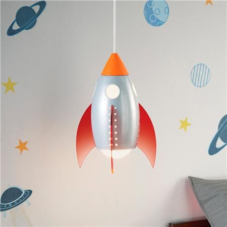 Rocket pendant light for space themed nursery or toddler room.