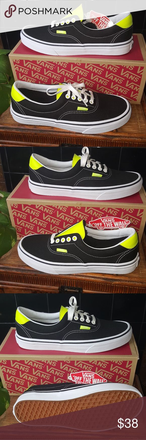 Black authentic neon leather Vans The black authentic sneaker with a Twist of a neon yellow tongue and heel. Absolutely awesome! I want to keep these two! These are absolutely rocking! Size 8.5 women and 7.0 men.  @barbarajeannef Vans Shoes Sneakers