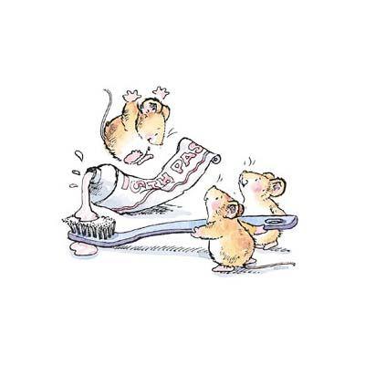 Penny Black, Inc. Los colegas del #ratónPerez, nos recuerdan que debes cepillarte muy bien los dientes tres veces al día.