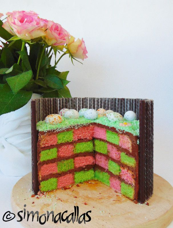 Easter Checkerboard Cake