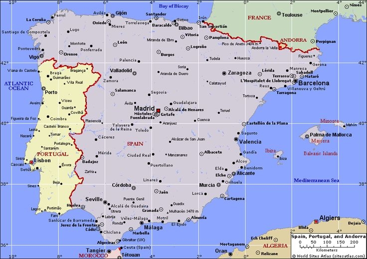 Political Map of Spain, Portugal, and Andorra