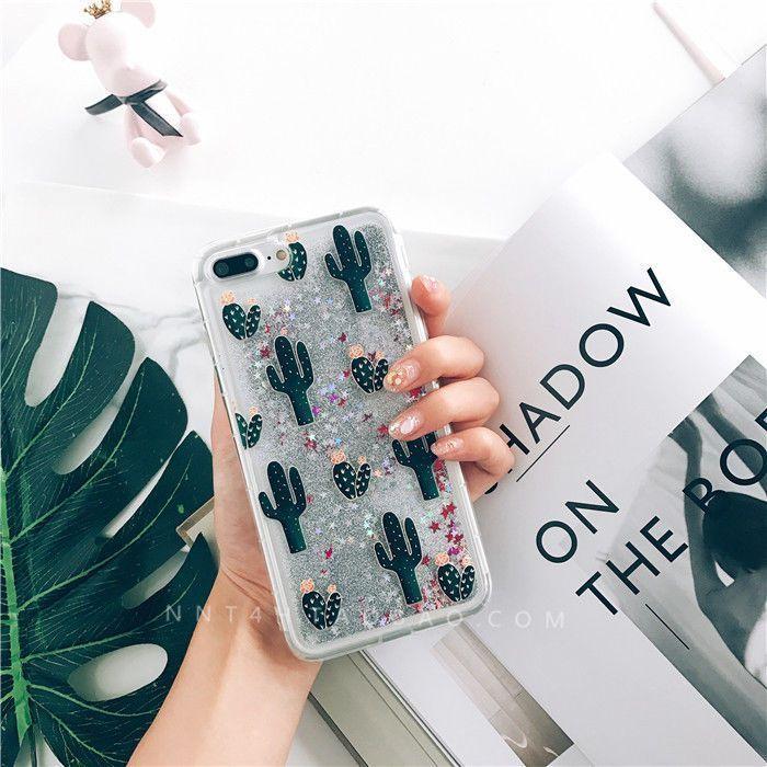 Chic Cactus Dynamic Quicksand Glitter Liquid Case Cover For Iphone 8 7 7 Plus 6S #iphone, #iphone6spluscase,