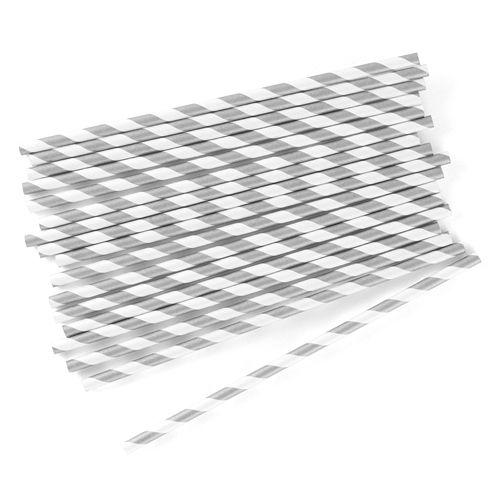 Metallic Silver Stripe Retro Straws - Pack 75