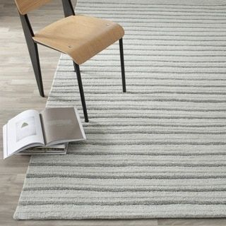 Martha Stewart By Safavieh Hand Drawn Stripe Nimbus Cloud Grey Wool/  Viscose Rug (8u0027 X 10u0027) By Martha Stewart