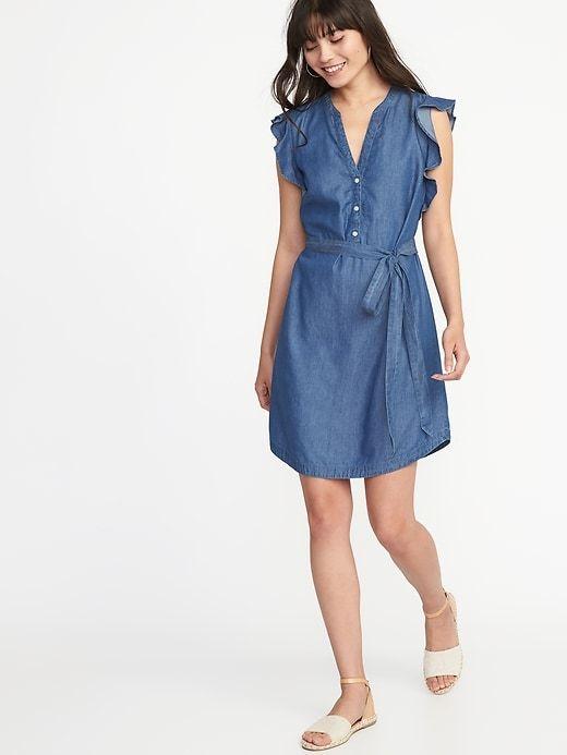 18498f955a Chambray Flutter-Sleeve Tie-Belt Shirt Dress for Women
