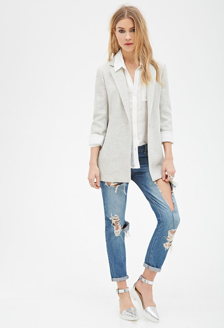 Heathered Knit Longline Jacket | Forever 21 - 2000136400