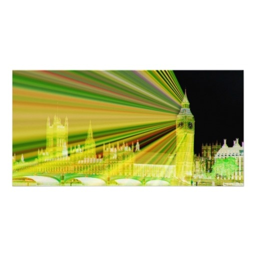 Radiating Big Ben/Westminster Abbey Photo Card