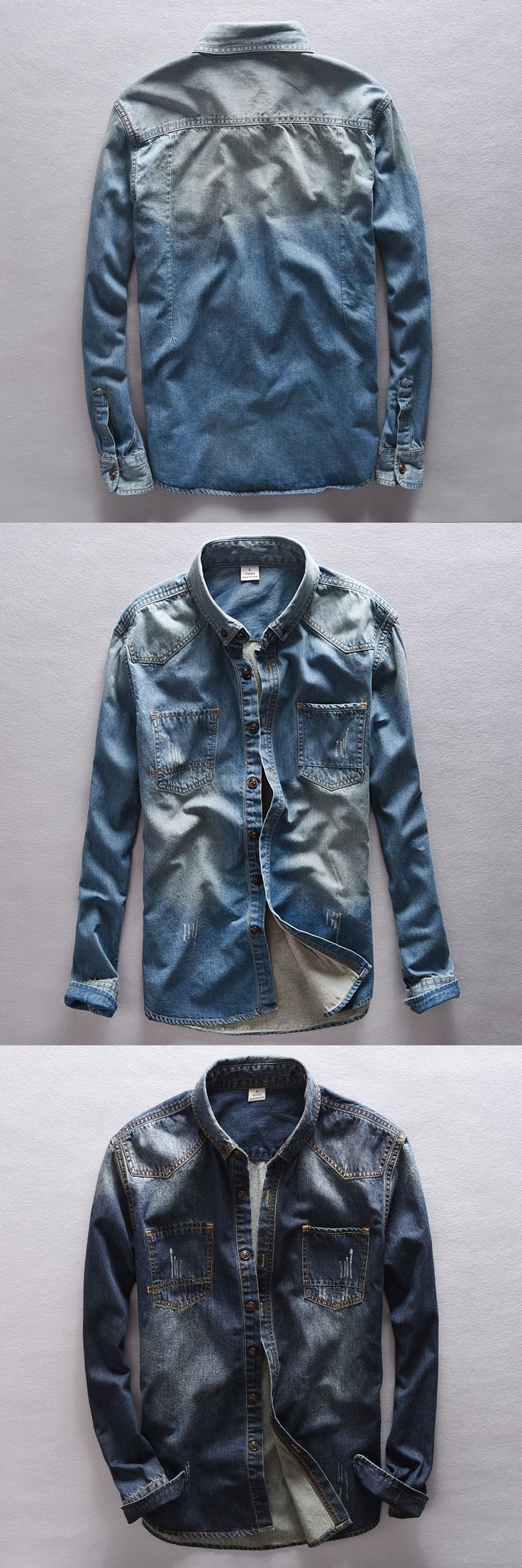 Italy Brand Suehaiwe's Fashion Casual Denim Shirt Men Pure Cotton Long Sleeve Slim Mens Shirt Fall Jeans Shirts camisa masculina