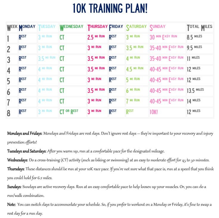 10K Training Plan for Advanced Beginners. Geared toward runners who can run 3 miles comfortably and can run 4 to 5 days per week. #fitness #10k #running