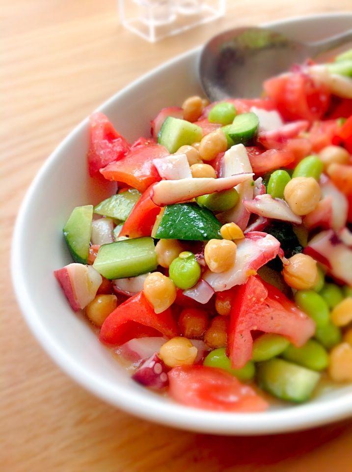 たことお豆のトマトマリネ♪