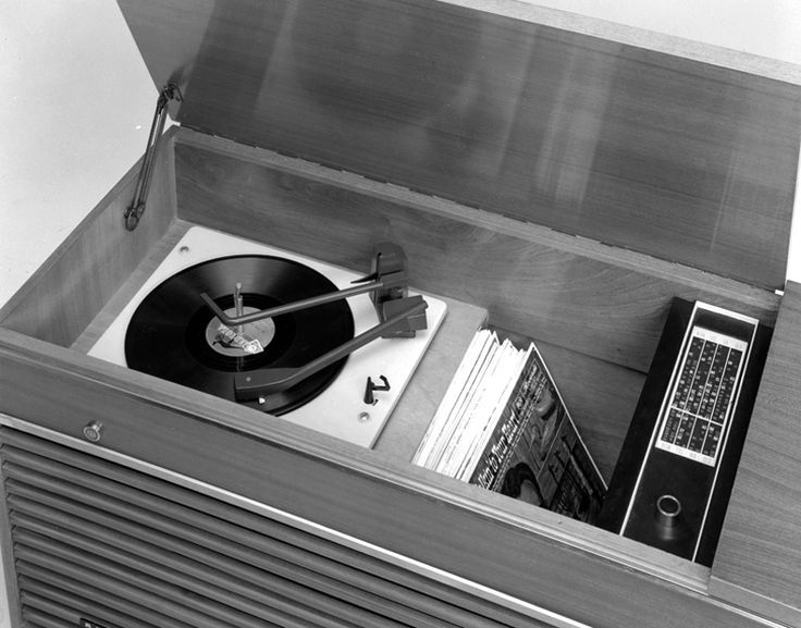 AWA Radiola model B50 in studio setting shows Monarch record player, March 1966. Max Dupain & Associates.