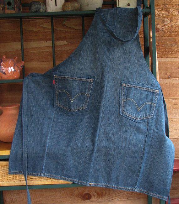 Denim Apron - Upcycled Jeans Apron - Craft Apron - Workshop Apron - Mens Denim Apron