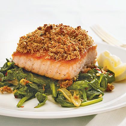 Serve salmon with a crunchy lemon-mint crust over wilted greens. | Health.com