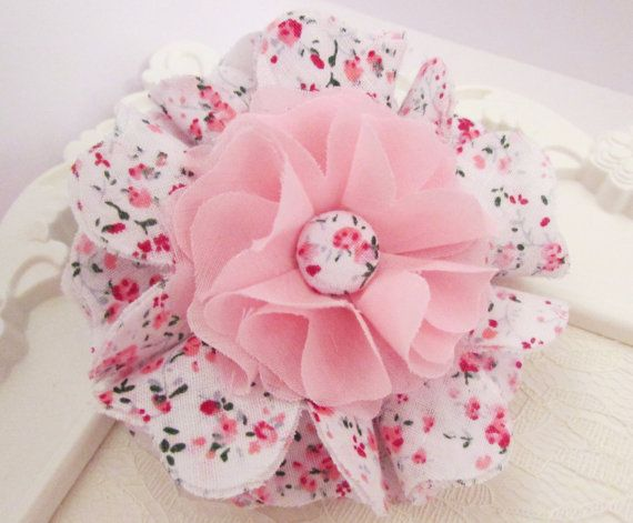 Pink Fabric Flower Baby Shower Girls Kids Hair Accessory Mom-To-Be Home Decor Gift Giveaway Hand-Stitched Nursery Brooch Pin Sash – PPBF0099