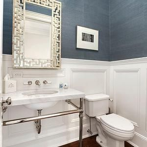 Carol Reed Design - bathrooms - powder room, powder room ideas, powder room wallpaper, wallpaper for powder rooms, blue grasscloth, blue grasscloth wallpaper, wainscoting, powder room wainscoting, wainscoting in powder room, powder room mirrors, fretwork mirror, silver fretwork mirror, polished nickel washstand, 2 leg washstand,