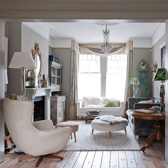 Neutral Eclectic Living Room With Grey Walls Wood Flooring Chair And Rug