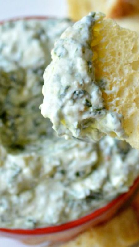 The Best No Bake Spinach Dip ~ just a few healthy ingredients plus ...