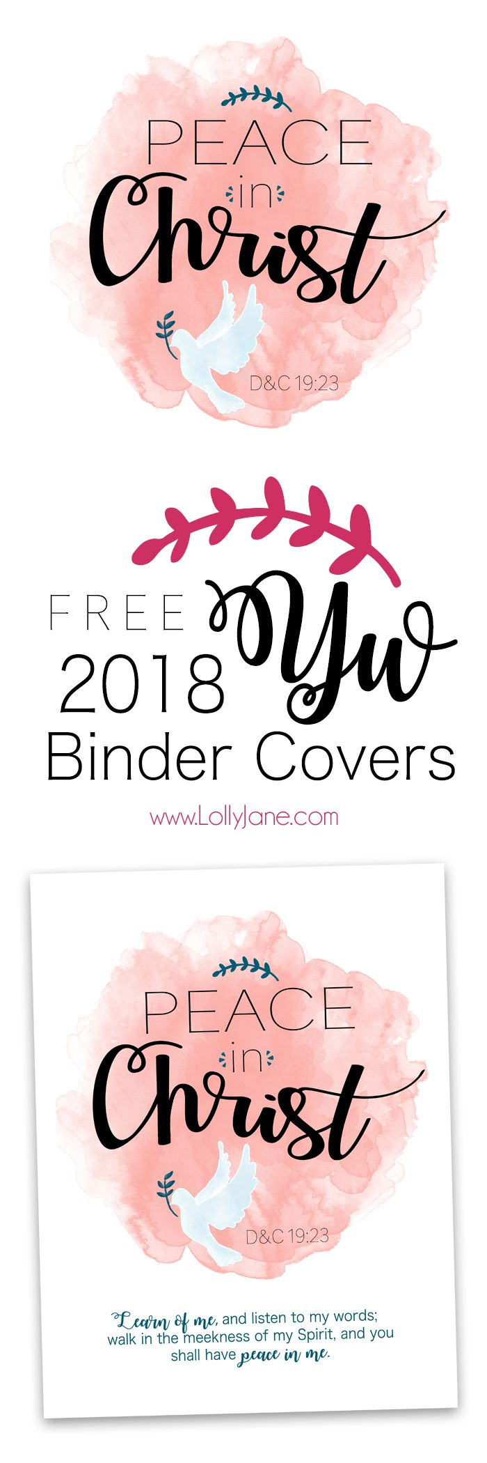 "FREE 2018 Mutual Theme/YW Binder Cover ""PEACE IN CHRIST"", includes presidency binder covers!"