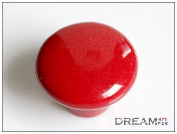 Mix order 5 pcs novelty red color ceramic kitchen cabinet - Red kitchen cabinet knobs ...