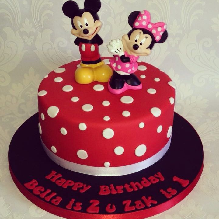 Mickey and Minnie Mouse joint birthday cake for girls and boys, this ...