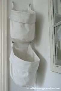 Baskets sewn from old curtains